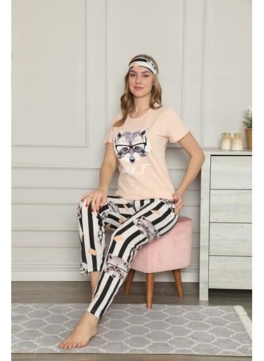 Akbeniz Kadın %100 Pamuk Penye Kısa Kol Pijama Takım 3334 Somon